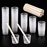 WXJ13 Lot de 50 Plastique 30 ml Gradué Tasses Transparent Échelle Tasses...