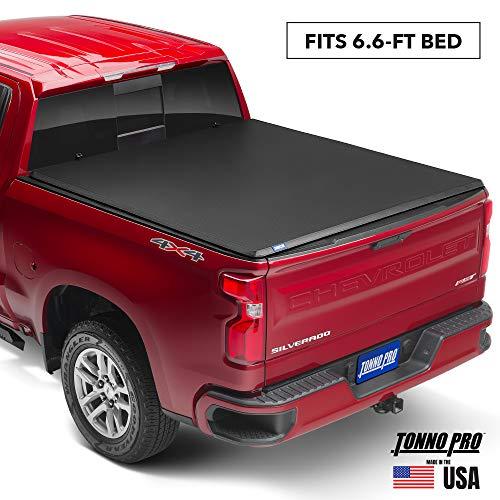 Tonno Pro Hard Fold, Hard Folding Truck Bed Tonneau Cover   HF-158   Fits 2014-18, 19 Ltd./Lgcy GMC Sierra & Chevrolet Silverado 1500 6'6' Bed