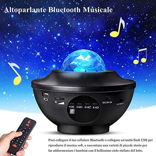 YunLone Lampada Proiettore Stelle con Altoparlante Bluetooth Lampada musicale con telecomando, 21 modalit Colore Luce Rotante Nebulosa Dimmerabili Galassia Luce,Lampada Proiettore Oceano