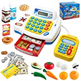 Toy Cash Register Shopping Pretend Play Money Machine with Dual Languages, Scanner, Card Reader and Grocery Play Food Set for Kids Boys Girls Gifts, Interactive Learning, Christmas Stocking Stuffers