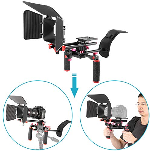 Neewer, Sistema Rig Stabilizzatore per Videocamera, Kit da Regista per Canon, Nikon, Sony e Altre Fotocamere DSLR e Videocamere DV, Include: Supporto a Spalla, Asta Standard da 15 mm (Rosso e Nero)