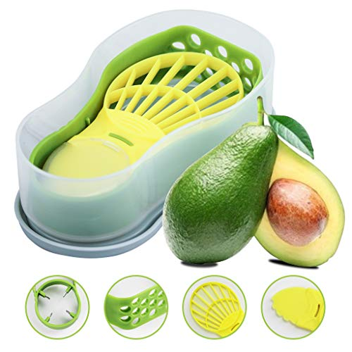 Avocado Slicer - Avocado Saver 5-in-1 Multi-Functional Avocado Tool Set | Avocado Keeper, Cutter, Slicer, Masher, Pitter, Peeler | Container Remove Pit Scoop Slice Mash