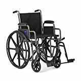 "Medline Strong and Sturdy Wheelchair with Desk-Length Arms and Swing-Away Leg Rests for Easy Transfers, 20""..."