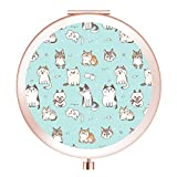 Makeup Mirror, [New Version] Portable Compact Mirror Double Sides with 2x &1x Magnification Round Pocket Makeup Travel Mirror for Cosmetic Beauty - Cute Cat