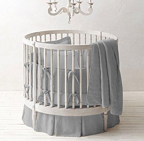 Unisex Nursery Baby Bedding Round Crib Multi Pleated Skirt Solid Pattern 500 TC Egyptian Cotton (Light Gray,Round Crib)