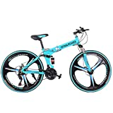 26in Folding Mountain Bike Shimanos 21 Speed Bicycle Full Suspension MTB Bikes