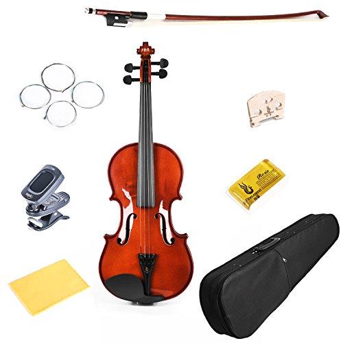 FineLegend 高品質バイオリン 8点セット デジタルチューナー/ケース/スペア弦/松脂/クロス/弓/ブリッジが全て入っている豪華組み合わせ 最高級天然トウヒ表板/カエデ裏板側板 イタリアンニス仕上げ 子供用から大人用まで各種サイズのヴァイオリンをご用意 世界で一番売れているバイオリンメーカーのエントリーモデル 入門用に最適です。 (4/4 つや有り) 【5,280円~!】安いヴァイオリン特集!バイオリンが1万円以下から買える!安いので始めてみたい・初心者にオススメ!【アコースティック・エレキヴァイオリン】