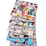 8 pezzi/lotto, serie Cartoon Anamal, tessuto di cotone twill stampato, 40 cm x 50 cm, tessuto patchwork per cucito fai da te, trapuntatura, lenzuola per bambini e vestiti