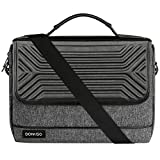 DOMISO 17 Inch Multi-Functional Laptop Sleeve with Strap Business Briefcase Waterproof Messenger Shoulder Bag for 17'-17.3' Notebooks/Dell/Lenovo/Acer/HP/MSI, Black