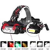 WindFire Red Green Light Headlamp,Super Bright 2000 Lumens Rechargeable COB Headlamp with Power Indicator Emergency Tail Light,Perfect for Outdoor Hunting,Camping,Fishing,Biking