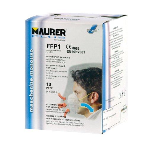 Maurer 87203 FFP1 Mascherina Monouso con Valvola, Carboni Attivi, Confezione 10 Pezzi, Bianco