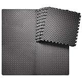 innhom 12 Tiles, 46 SQ. FT Gym Mat Exercise Mat Puzzle Foam Mats Gym Flooring Mat Interlocking Foam Mats with EVA Foam Floor Tiles for Gym Equipment Workout Mat, Black