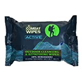 Combat Wipes ACTIVE Outdoor Wet Wipes | Extra Thick, Ultralight, Biodegradable, Body & Hand Cleansing/Refreshing Cloths for Camping, Gym & Backpacking w/Natural Aloe & Vitamin E (25 WIpes)