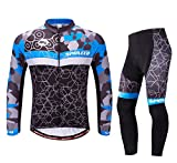 sponeed Cycling Jersey Men Bike Jacket Long Sleeve Bicycle Pants Shirt Clothes Full Zip US XL Multi Blue