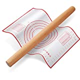 Rolling Pin, QUELLANCE Wood French Roller Pin with Silicone Baking Mat, Beech Wood Dough Roller for Baking Dough, Pizza, Pie, Pastries, Pasta and Cookies