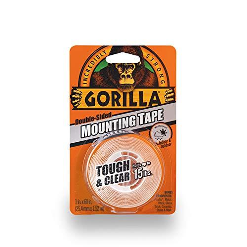 Gorilla Cinta de montaje de doble cara, resistente y transparente, 2.54 cm x 152 cm, transparente, 1 unidad, Transparente