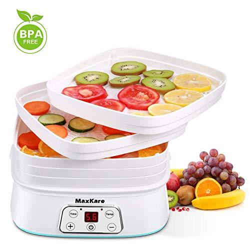 MaxKare Dehydrator Dörrautomat Dörrgerät, 5 Dörrgitter, Temperatur 30 bis 70° C, Timer bis 72 Std, BPA-frei, 240 Watt, Ink.Rezeptheft für Lebensmittel, Obst- Fleisch- Früchte-Trockner Weiß