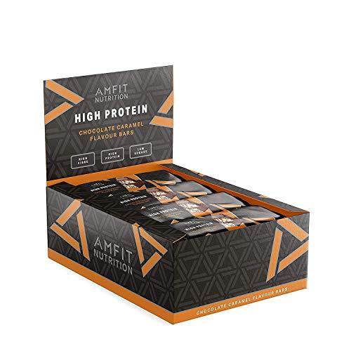 Marca Amazon- Amfit Nutrition Barrita de proteínas sabor a chocolate y caramelo, pack de 12 (12x60g)