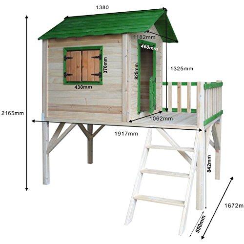 """BRAST Spielhaus für Kinder mit Balkon Stelzenhaus\""""Adventure\"""" 167x191x216cm Kinder-Haus Turm Holz Spielehaus"""