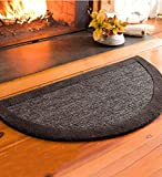 2' x 4' Madrid Banded Half-Round Hearth Rug, in Charcoal
