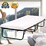 Guest Bed Folding Bed Frame with 3 Inch Foam Mattress Fold Up Heavy Duty Extra Portable Camping Cots with Wheels Hideaway Temporary Single Twin Size Rollaway Bed for Adults,Kids - 300LBS Capacity