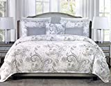 Tahari Home Maison Bedding 3 Piece Queen Size Luxury Duvet Comforter Cover Pillowcases Shams Set Pastel Floral Paisley Pattern in Shades of Blue Yellow Gray on White - Thelma, Morning Dew