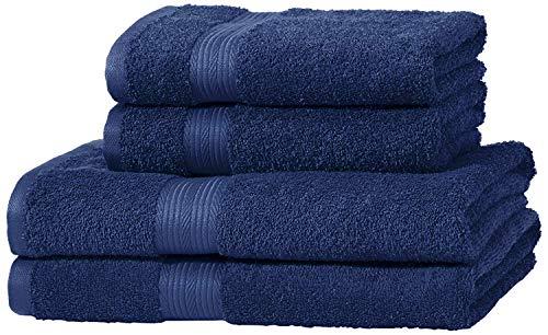 AmazonBasics - Juego de toallas (2 toallas de baño y 2 toallas de manos), 100% algodón 500 g / m², Azul (Royal Blue)