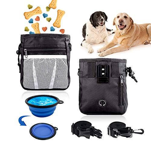 Happylohas futterbeutel Hunde, leckerlitasche für Hunde, Hunde leckerlis Training, Hunde zubehör, mit Falten schüssel und Schultergurt, für hundetraining und spaziergänge (schwarz)
