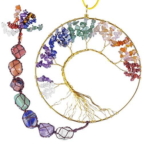 rockcloud 7 Chakras Stones Crystals Tree of Life Wall Hanger...
