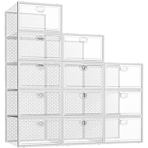 Pinkpum Shoe Storage Boxes, 12 Pack Clear Plastic Stackable Shoe...
