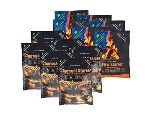 InstaFire Granulated Emergency FireStarter Combo Kit, 18 pack: 9 packs Charcoal Starter, 9 packs Fire Starter