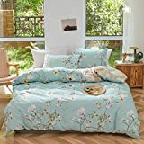 Joyreap 3pcs Floral Comforter Set, Soft Microfiber Comforter for All Season, Elegant White Flower Printed on Blue Reversible Design (Full/Queen, 90x90 inches)