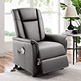BOSSIN Single Recliner Chair Sofa Padded Seat PU Leather Living Room Sofa Recliner Modern Recliner Seat Club Chair Home Theater Seating with Pocket (Leather, Gray-2)