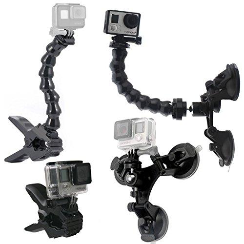 GreatCool Auto Treppiede Ventosa con Testa a Sfera 360°+ Jaws Flex Clamp Mount + Collo d' Oca Braccio Fissaggio per Action Cam,GoPro Fusion Hero 7 2018 6 5 4 3 Session 4K Macchina Fotografica Camera