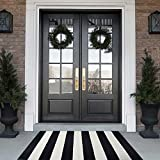Black and White Striped Rug 28 x 45 Inches Front Door Mat Hand-Woven Cotton Indoor/Outdoor Rug for Layered Door Mats,Welcome Door Mat, Front Porch,Farmhouse,Kitchen,Entry Way