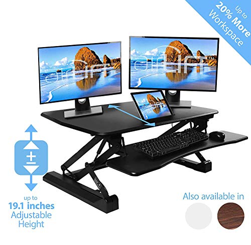 Seville Classics airLIFT Height Adjustable Stand Up Desk Converter/Riser - Keyboard Tray, Dual Monitors, Quick Lift Levers Ergonomic Table, Full (36'), Black