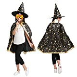 Halloween Christmas Witch Wizard Cosplay Costumes Set for Girls, Boys, Kids with Cloak, Hat, Headband (Black)
