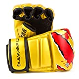 Cheerwing Boxing Gloves MMA UFC Sparring Grappling Fight Punch Mitts Leather Training Gloves, Gold