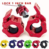 Greententljs 1 Inch Barbell Clamps Quick Release Locking Barbells Pro Workout Professional Barbell Collar Clips Lock fit 1-Inch Diameter Standard Size for Squats Weightlifting Training Equipment (Red)