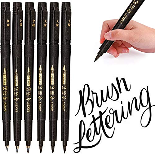 MISULOVE Hand Lettering Pens, Calligraphy Pens, Brush Markers Set, Soft and Hard Tip, Black Ink Refillable - 4 Size(6 Pack) for Beginners Writing, Art Drawings, Water Color Illustrations, Journaling
