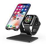 Apple Watch Stand, OMOTON 2 in 1 Universal Desktop Stand Holder for iPhone and Apple Watch Series 5/4/3/2/1 (Both 38mm/40mm/42mm/44mm) (Black)