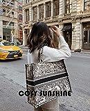 Mdsfe Bolsos de MujerNuevas Letras Impresas CasualBolsos de Compras deGran CapacidadBolsos de Hombro de Mujer Bolso Bordado a Mano - con loho, 36cm