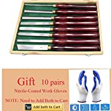Wood Turning Tool HSS Lathe Chisel Set 8 Piece Set For Hardwood Handles High-Speed Steel Brass Ferrules and Wooden Case For Storage