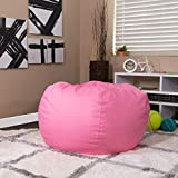 EMMA + OLIVER Oversized Solid Light Pink Bean Bag Chair for Kids and Adults