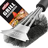 Grill Brush and Scraper - Extra Strong BBQ Cleaner Accessories - Safe Wire Bristles 18'Stainless Steel Barbecue Triple Scrubber Cleaning Brush for Weber Gas/Charcoal Grilling Grates, Best wizard tool