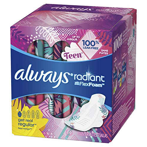 ALWAYS Radiant Teen Pads Get Real Regular Unscented with Wings, 14 Count