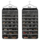 Hanging Jewelry Organizer, McoMce Double Sided 56 Pockets Jewelry Organizer with Zippered Pockets, Necklace Holder Jewelry Chain Organizer for Earrings Necklace Bracelet Ring with Hanger, Blac