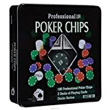 elaela Set de póker con Caja de Metal, 100 fichas +2 Barajas de Cartas+Ficha Dealer.