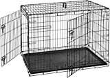 AmazonBasics Double-Door Folding Metal Dog Crate Kennel - 42 x 28 x 30 Inches