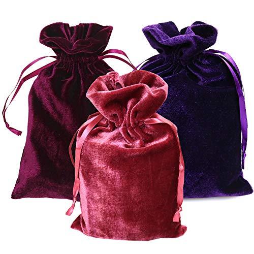 GIFTEXPRESS Pack of 3 Velvet Tarot Rune Bag, Purple, Ross,...